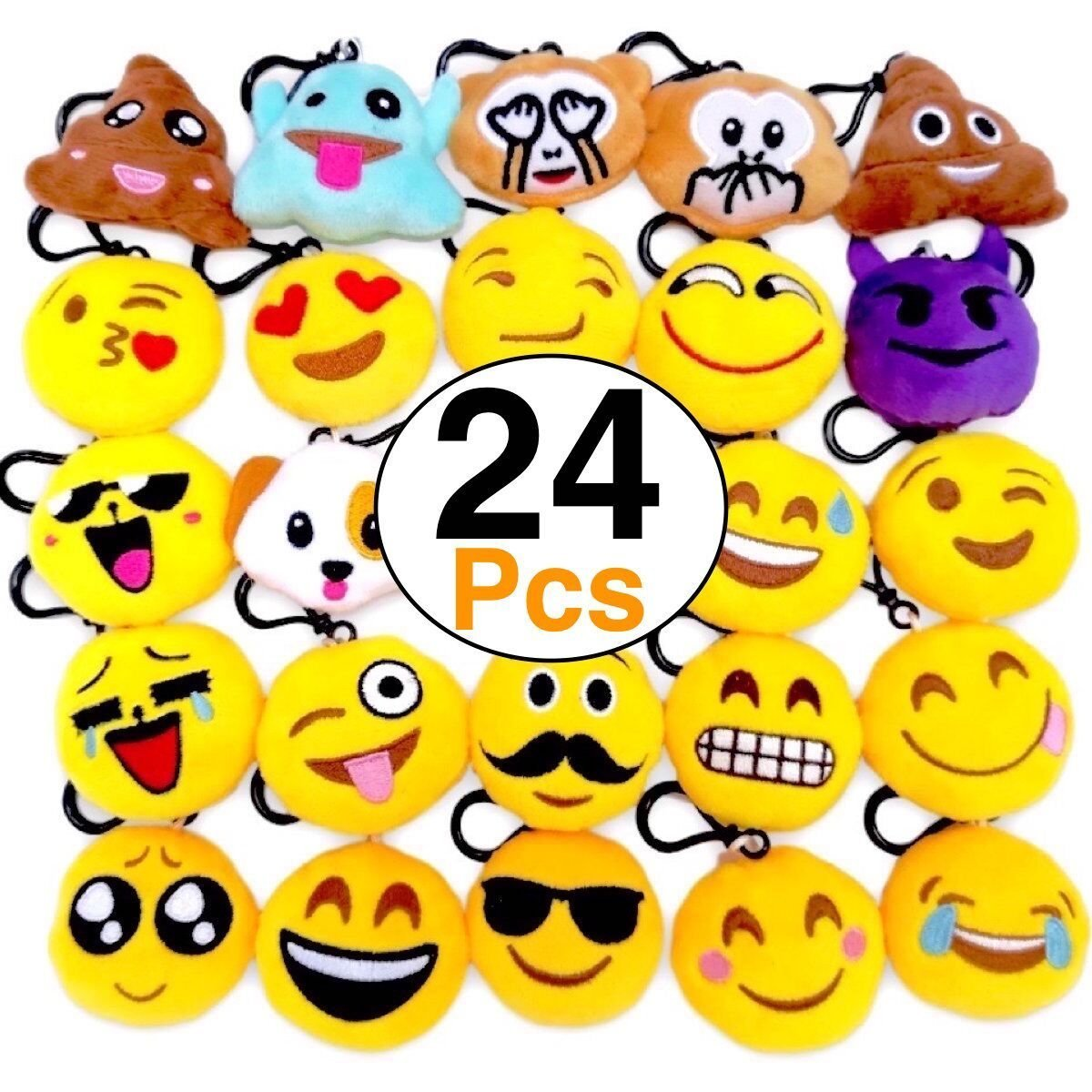 OHill 24 Pack Emoji Plush Pillows Mini Keychain for Birthday Party, Home  Decoration, Classroom Rewards and Party Favor.