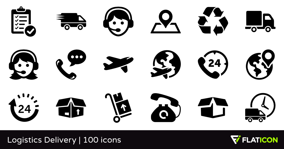 Logistics Delivery 100 free icons (SVG, EPS, PSD, PNG files).