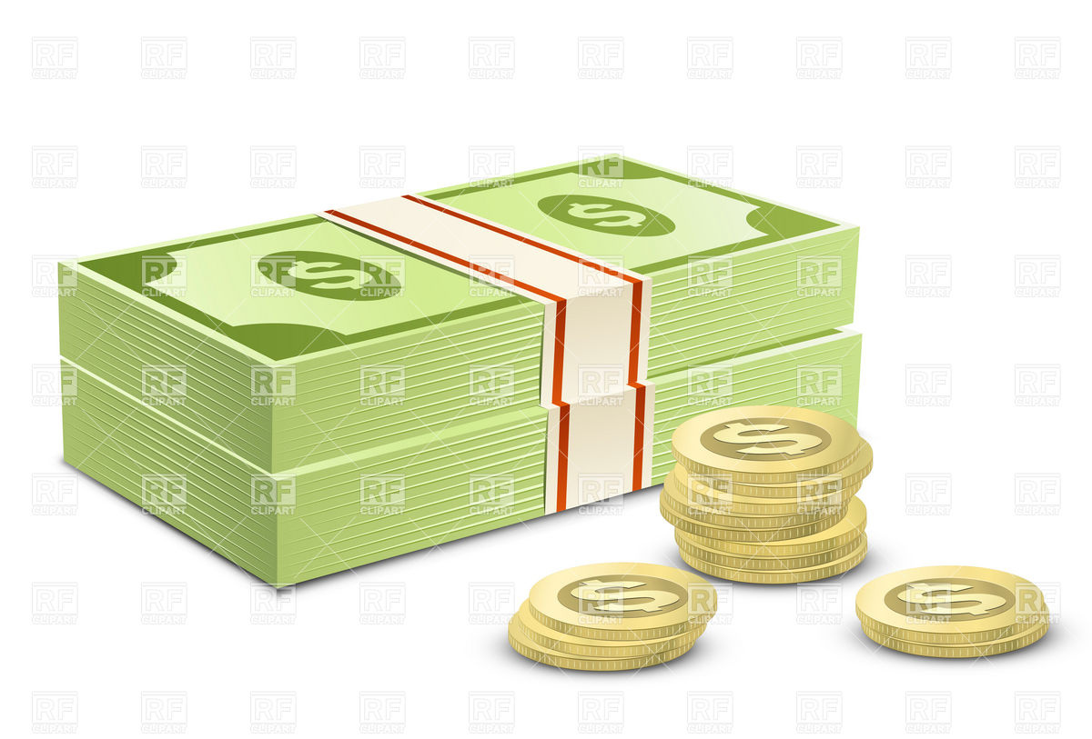 Pack of dollars and coins Vector Image #5870.