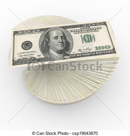 Stock Illustrations of Pack of dollars on the isolated background.