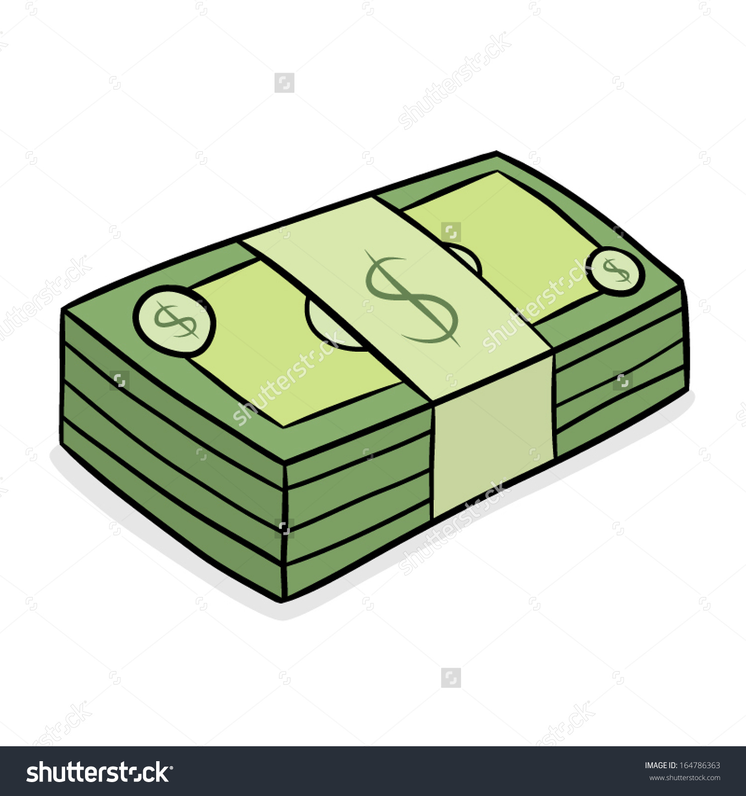 Stack Dollar Bank Note Cartoon Vector Stock Vector 164786363.