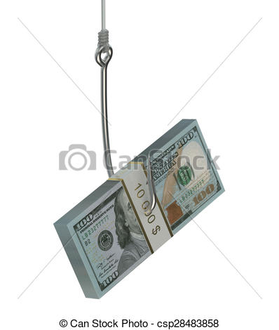 Stock Illustrations of fishing hook with pack of dollars isolated.