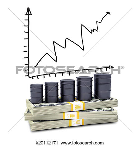 Clipart of Barrels oil stand on pack of dollars k20112171.