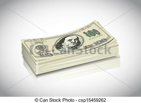 Clip Art Vector of Pack Of Dollars.