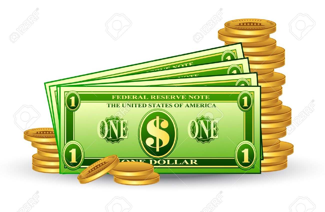 Vector Illustration Of Dollar Pack With Coins On White Background.