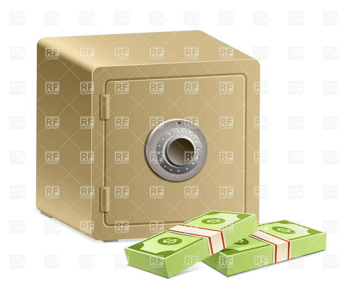 Strongbox with a combination lock and pack of dollars Vector Image.