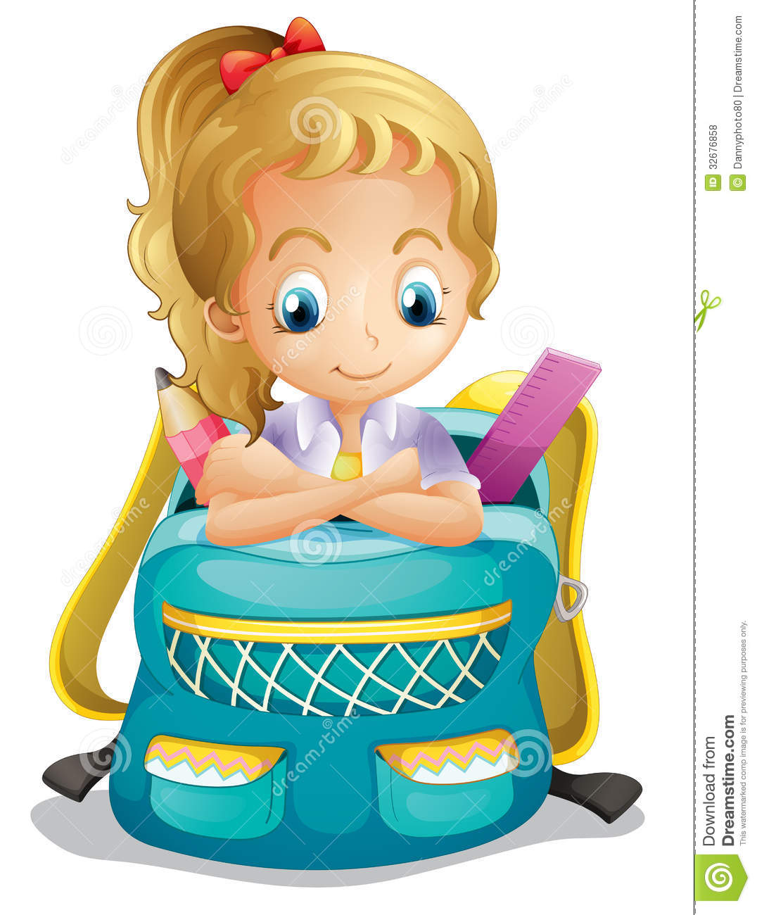 Girl With School Bag Clipart.