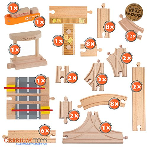 58 Piece Wooden Train Track Expansion Pack Featuring Container.