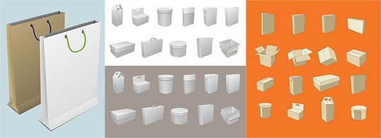 Blank boxes and packaging material bag, Vector.