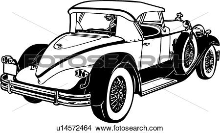 Clipart of , 1920, 1930, automobile, car, classic, packard.