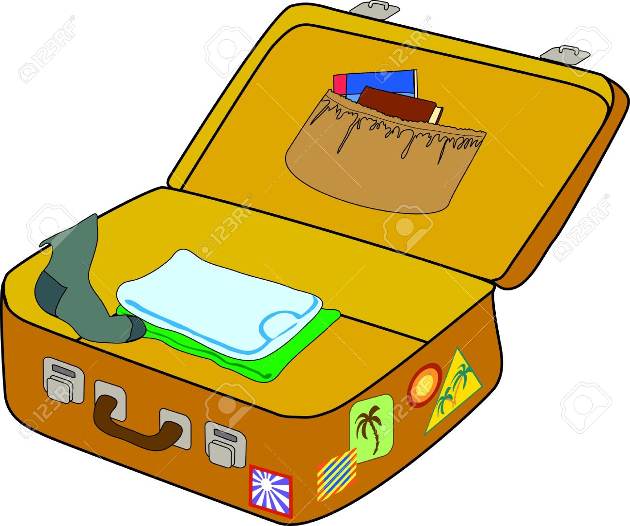 Packed clipart - Clipground Packing Luggage Clipart