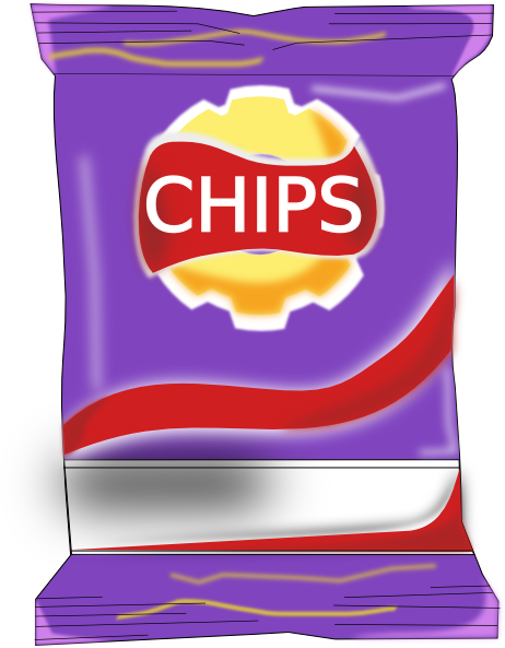 Packet of chips clipart.