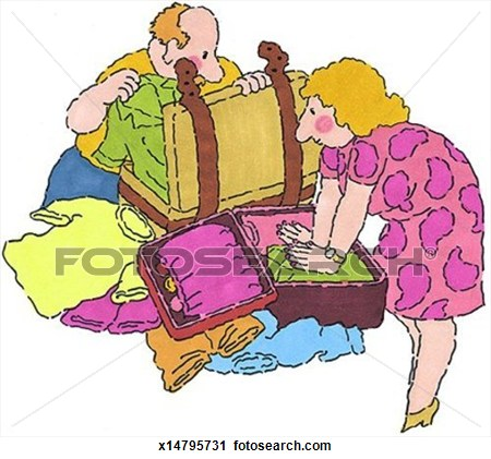 Packing For Vacation Clipart.