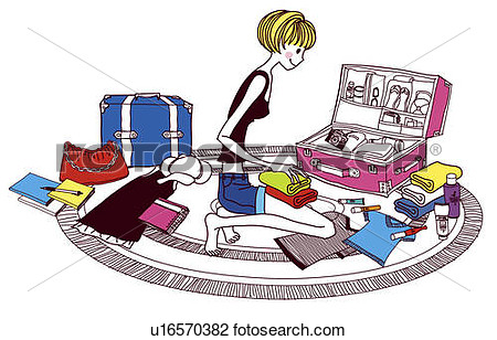 Packing suitcase clipart.