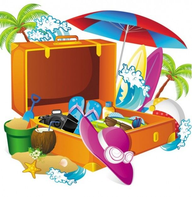 Packing for a tropical vacation illustration.