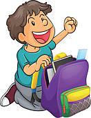Stock Photo of Boy packing school bag k10385092.