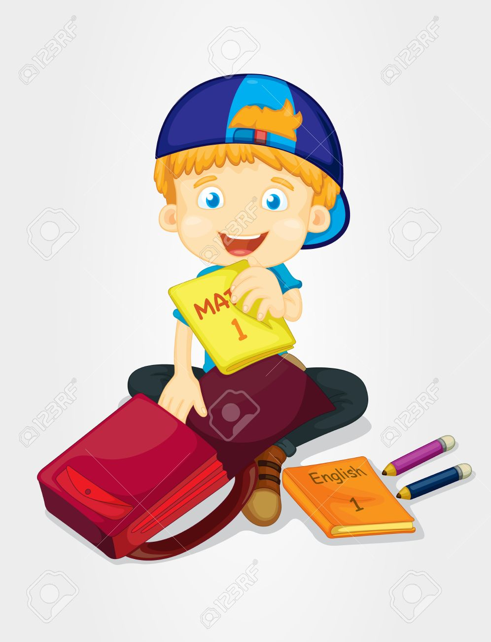 Boy Packing His School Bag Royalty Free Cliparts, Vectors, And.
