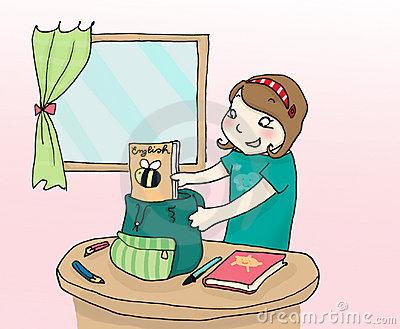 Girl Packing Her Schoolbag Stock Vector.