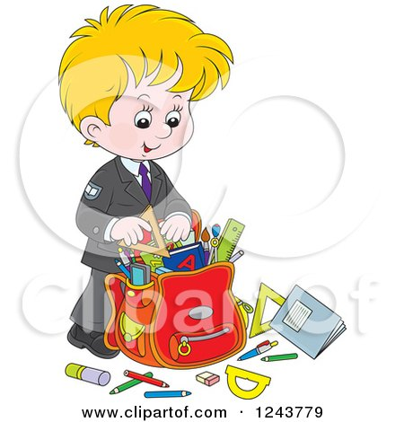 Clipart of a Cartoon School Backpack Bag with Supplies, a Desk.