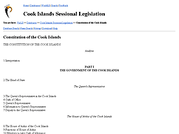 www.paclii.org: Cook Islands System of Government Information.
