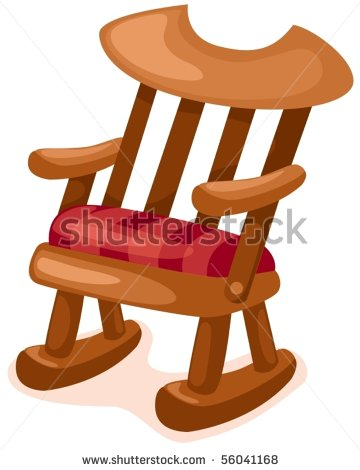 of a wooden rocking chair with a padded seat in a vector clip art.