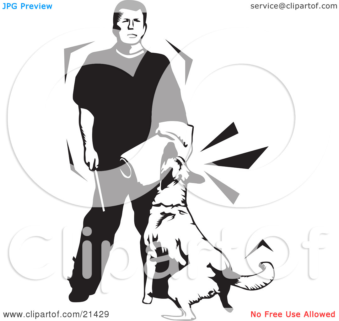 Clipart Illustration of a Guard Dog In Training, Attacking The.