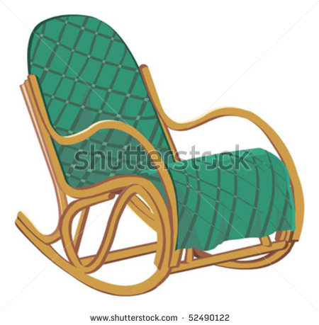 of a padded rocking chair in a vector clip art illustration.