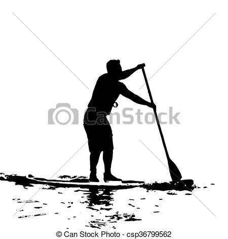 Clip Art Vector of Paddle Boarder in Swansea Bay Vector Silhouette.