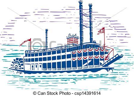 Vector Clip Art of Steam Boat.
