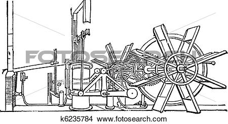 Clipart of Clermont Steam Ship Paddle Wheel Unit vintage engraving.