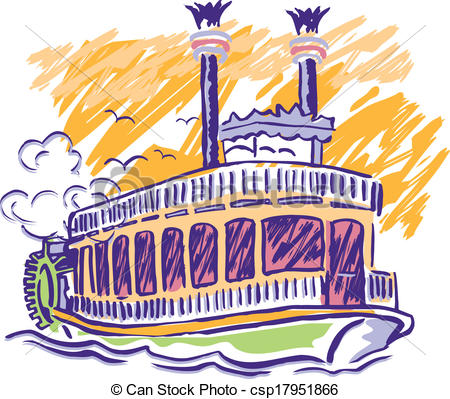 Paddlewheel Boat Clipart.