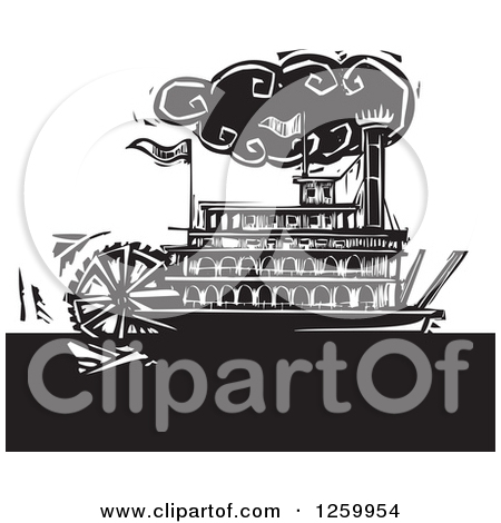 Clipart of a Black and White Woodcut Steamboat.