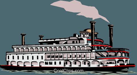 Mississippi Paddleboat Royalty Free Vector Clip Art illustration.