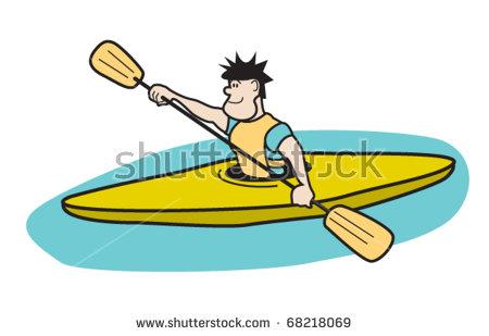 Kayaker Paddling Boat Clip Art Stock Vector 68218069.