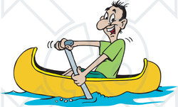 Clipart Illustration of a Happy Man Paddling His Yellow Canoe.
