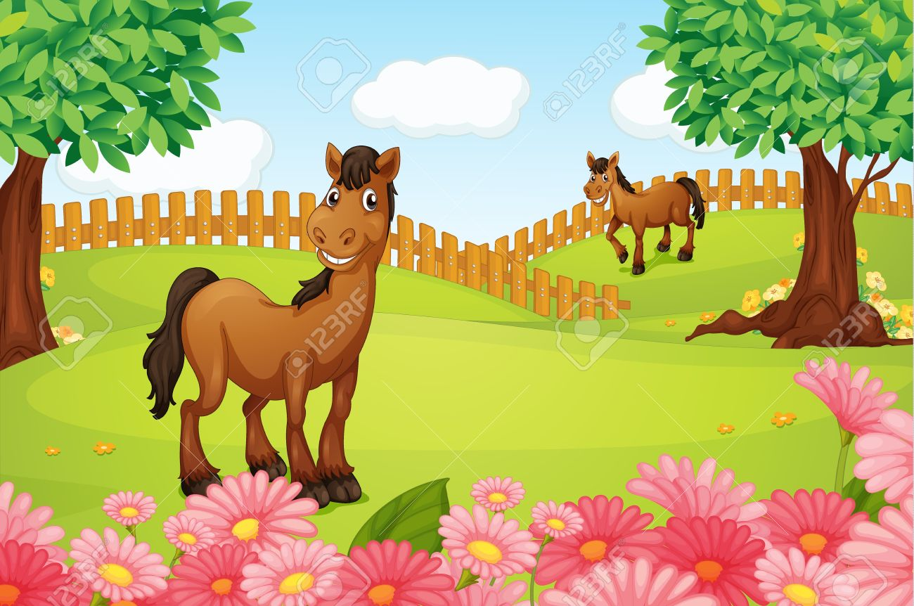 Illustration Of Horses On A Field In A Beautiful Nature Royalty.