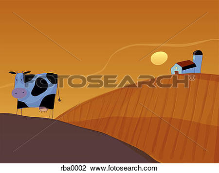 Clip Art of An illustration of a cow in a paddock at dusk with a.