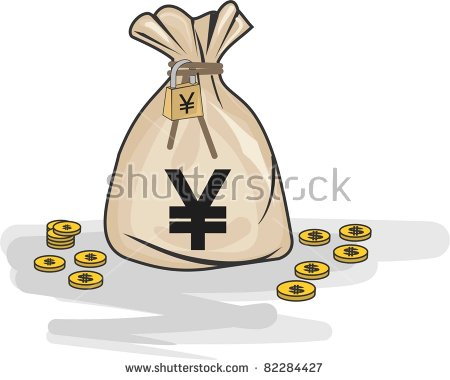 Money Bag Yen Padlock Stock Vector 82284427.