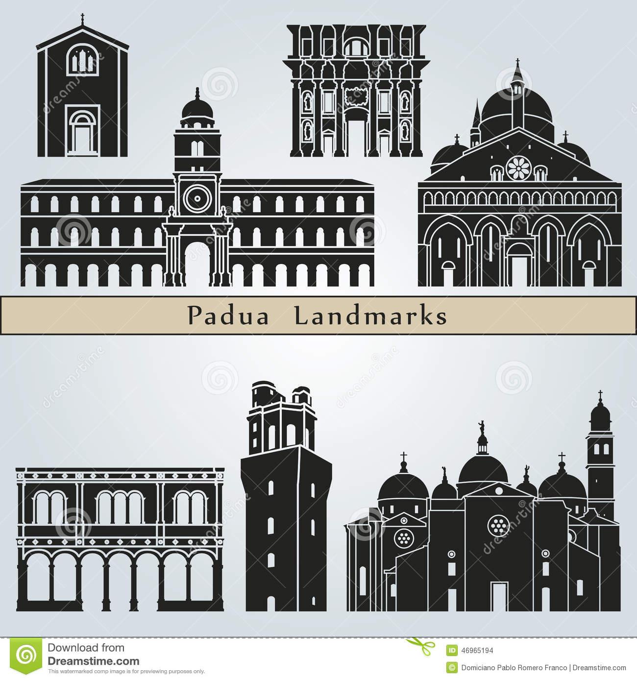 Padova Landmarks And Monuments Stock Vector.