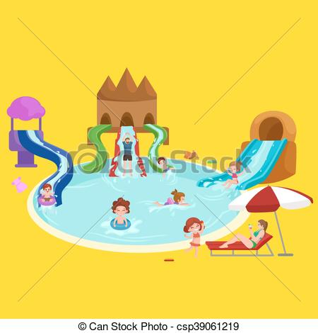 Vector Clip Art of Water aquapark playground with slides and.