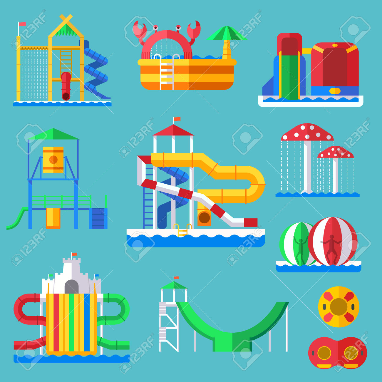 90 Aquapark Holiday Stock Vector Illustration And Royalty Free.