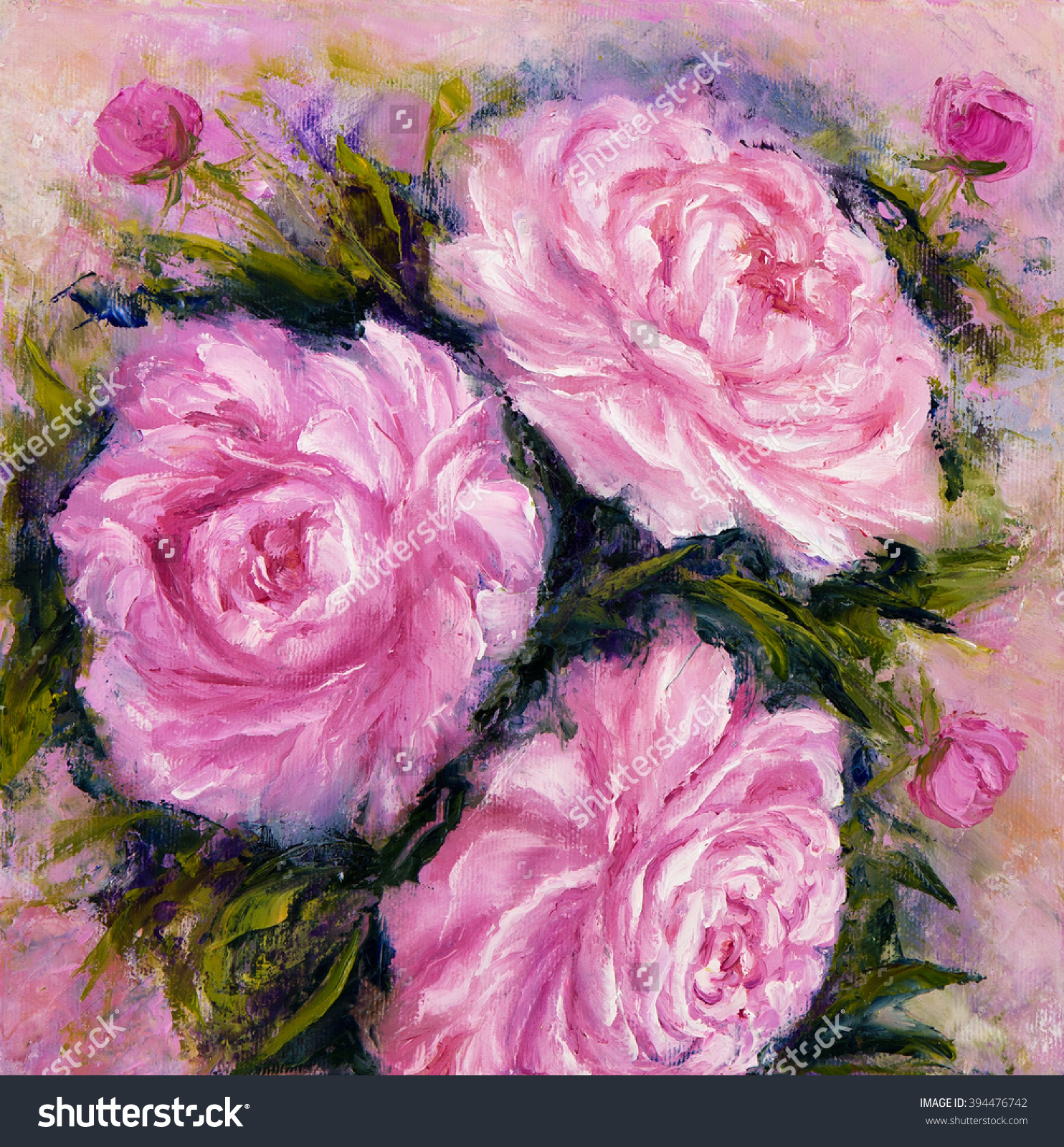 Original Oil Painting Showing Pink Peony Flowers Bouquet. Genus.