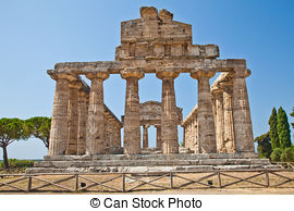 Stock Photo of First Temple of Hera, Paestum, Italy. The temple.
