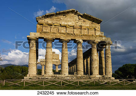 Stock Image of Ruins of an ancient Greek city; Paestum, Campania.