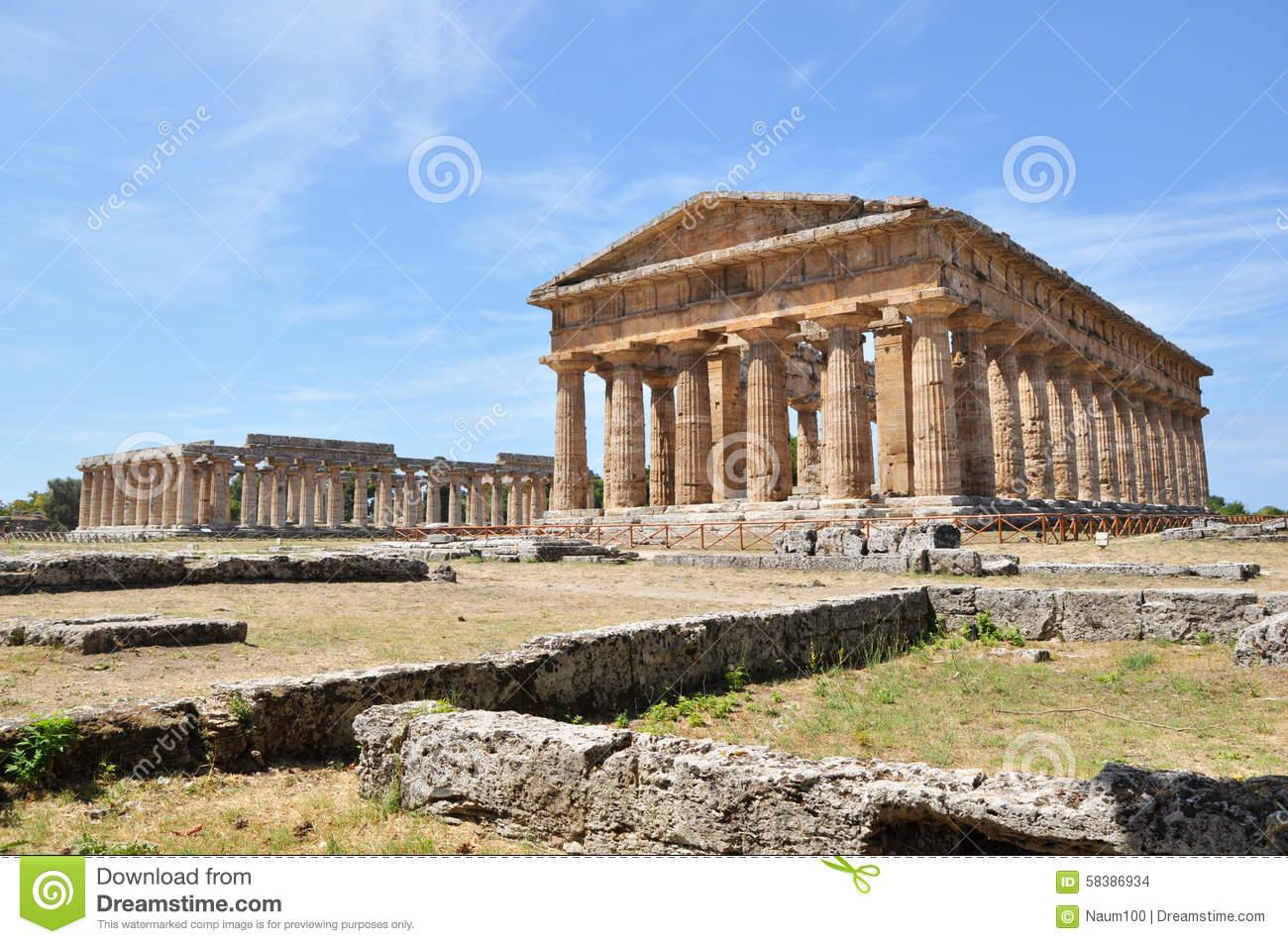 Paestum Ruins Near Naples, Italy. Stock Photo.