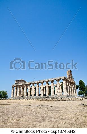 Stock Photo of Paestum temple.