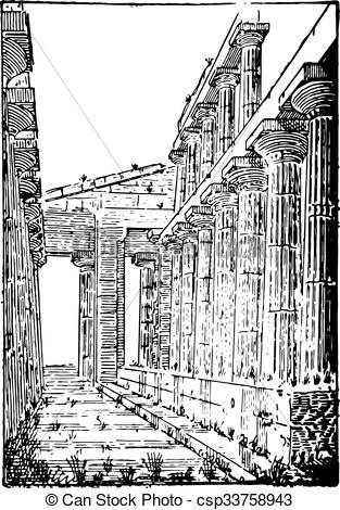 EPS Vector of The Temple of Neptune or Temple of Hera II at.