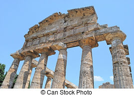 Stock Photo of Details the greek temple of Cecere.