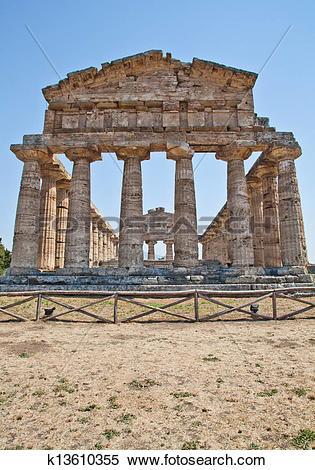 Stock Image of Paestum temple.