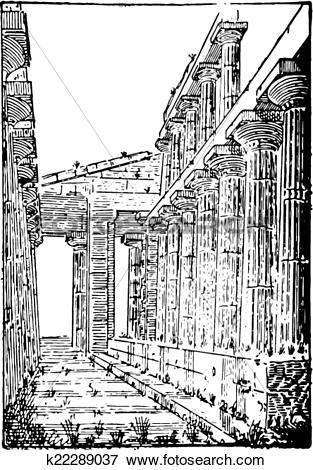 Clip Art of The Temple of Neptune or Temple of Hera II at Paestum.